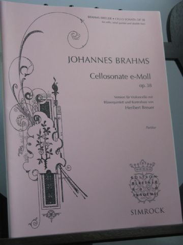 Brahms J - Cello Sonata in E Minor Op 38 for Cello Wind Quintet & Bass arr Breur H
